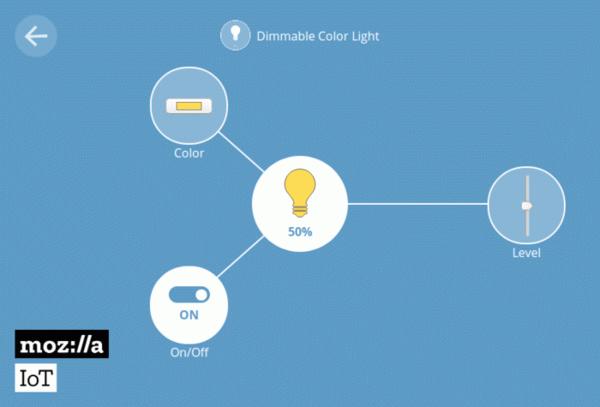 Настройки освещения в Mozilla Things