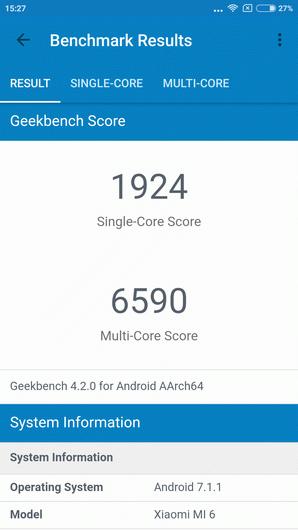 Xiaomi Mi6 в новом Geekbench