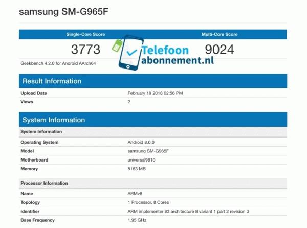 Samsung Galaxy S9+ с Exynos в GeekBench