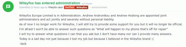 Wileyfox обанкротился